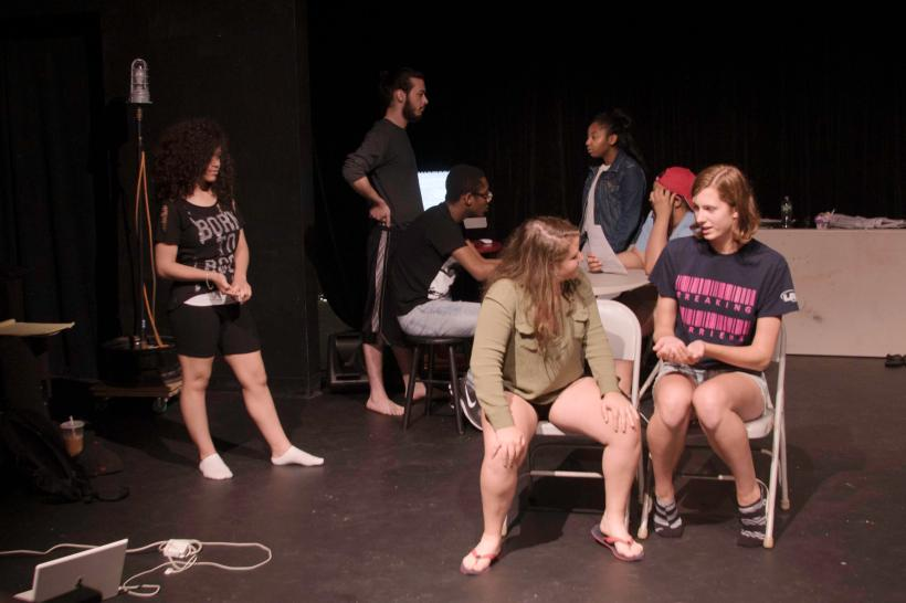 "Youth Play Institute interns rehearse ""A Bullet's Conscience"". Katie Burns / WNPR"